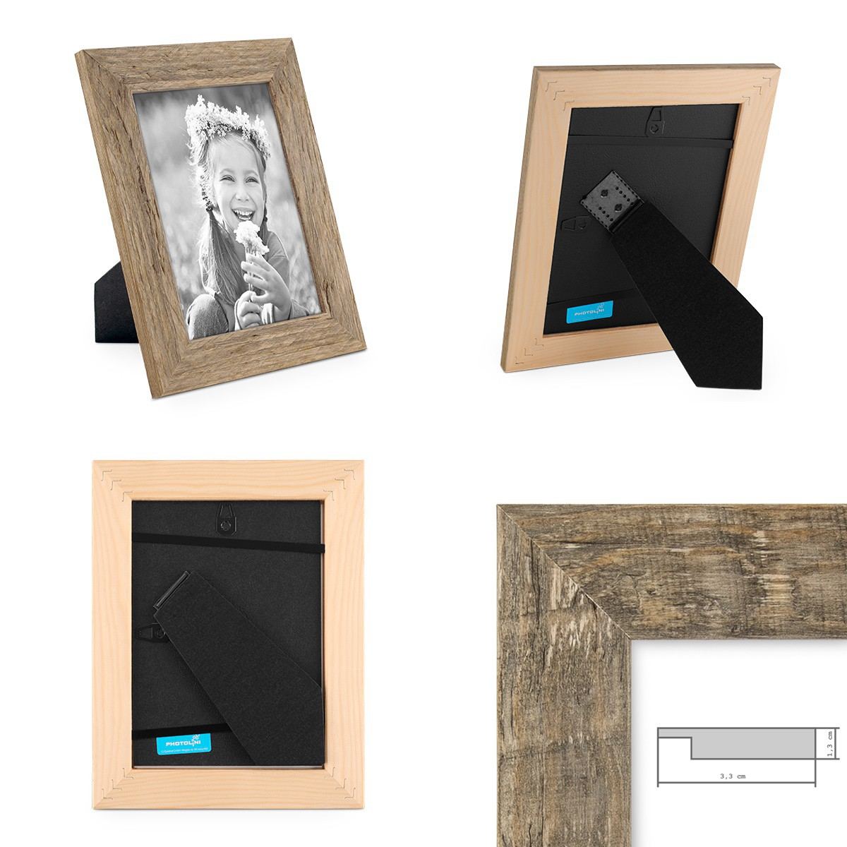 2er bilderrahmen set strandhaus holz rustikal eiche braun weiss grau foto rahmen ebay. Black Bedroom Furniture Sets. Home Design Ideas