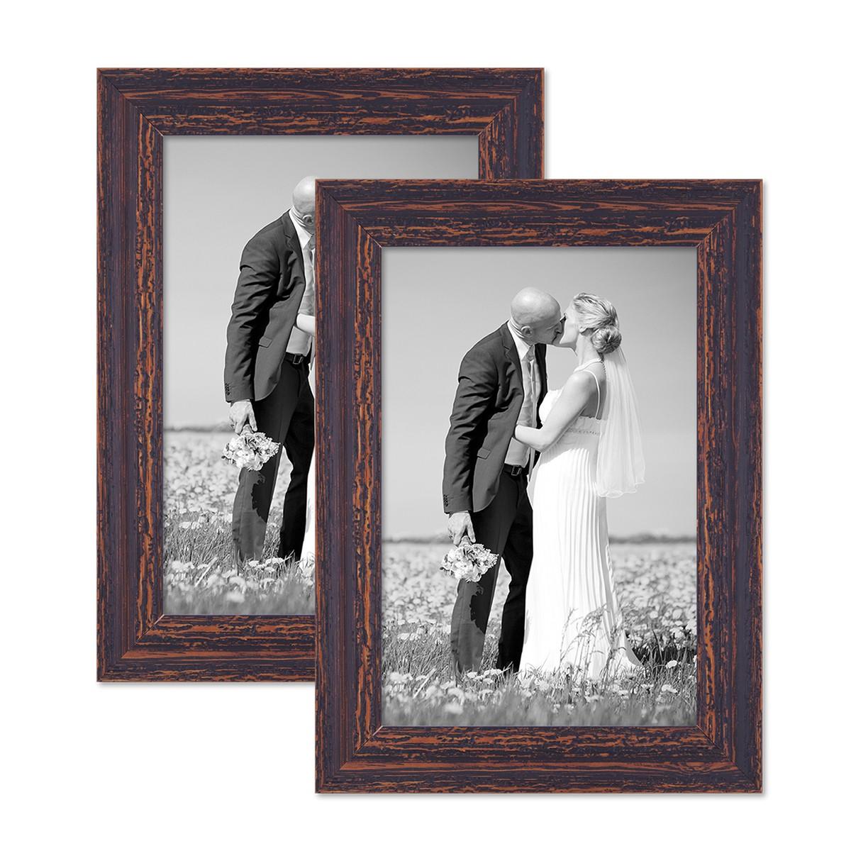 2er bilderrahmen set shabby chic vintage holz wei grau dunkel braun foto rahmen ebay. Black Bedroom Furniture Sets. Home Design Ideas