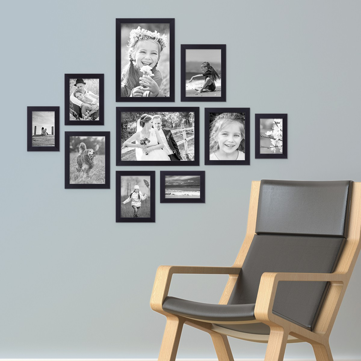 bilderrahmen set mdf modern weiss schwarz bilder galerie foto collage rahmen ebay. Black Bedroom Furniture Sets. Home Design Ideas